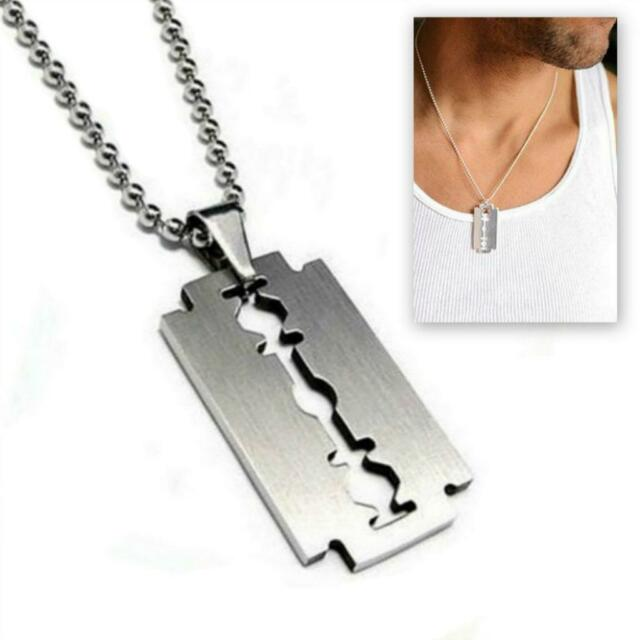 Stainless steel razor blade pendant necklace 50cm chain silver charm stainless steel razor blade pendant necklace 50cm chain silver charm men dog tag thecheapjerseys Choice Image
