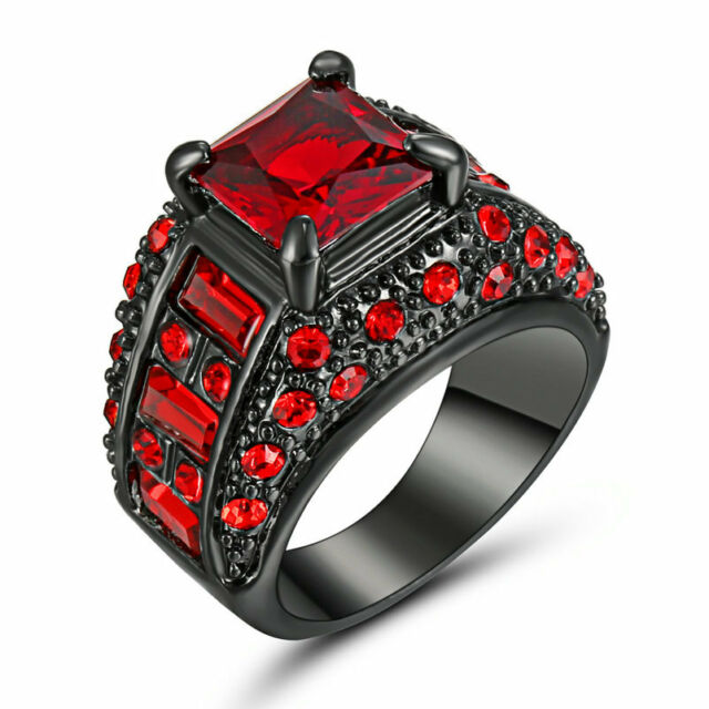 Size 6 Black Wedding Engagement Ring Red Crystal Cluster Cocktail