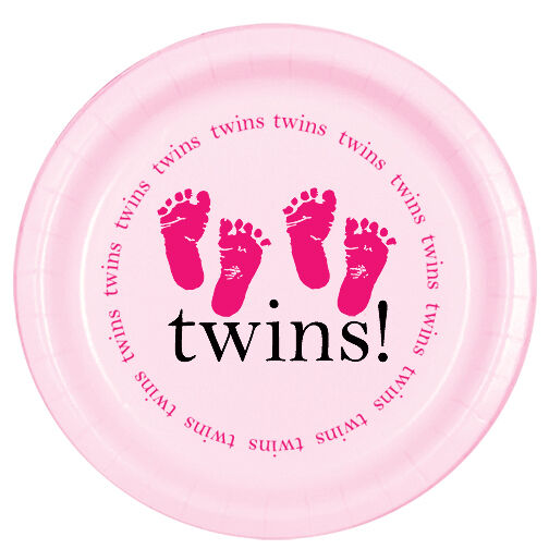 pink baby girl shower party twins footprints lunch dinner plates ebay