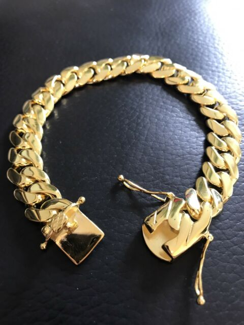 gold solid bracelet miami cuban products yellow grande thick