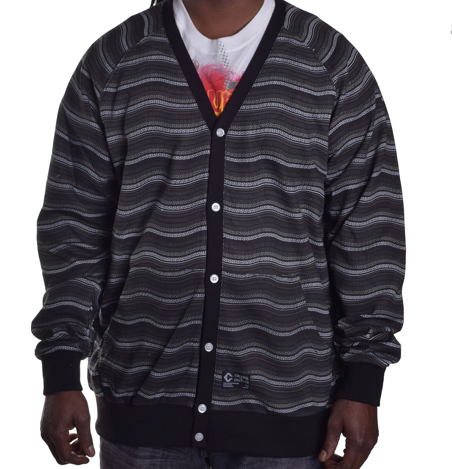 Crooks & Castles Mens Thick Black Cardigan Button up Sweater ...