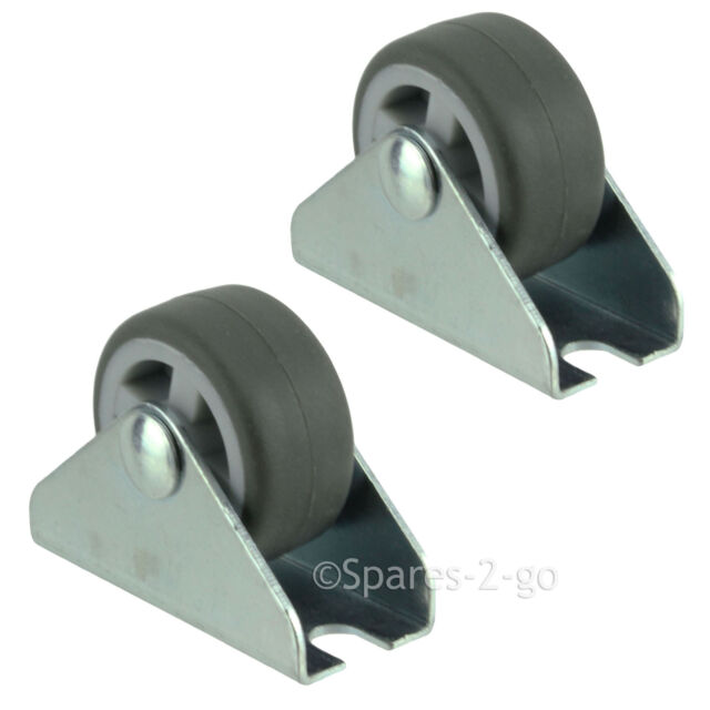 2 x UNIVERSAL 32mm Rubber Castor Trolley Wheels Fixed Middle 1'' Small Mini