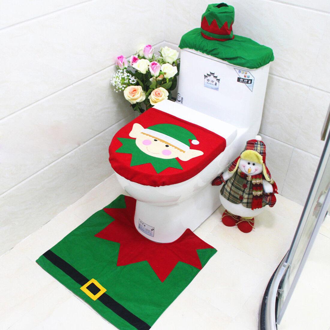 3 Pcs Happy Santa Toilet Seat Cover Rug Christmas Bathroom Set ...