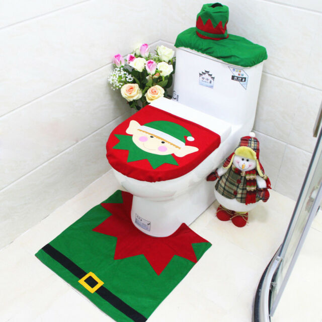 3 Pcs Happy Santa Toilet Seat Cover Rug Christmas Bathroom Set
