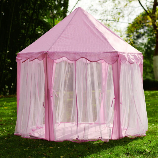 Kid Girls Pink Princess Castle Cute Playhouse Children Play Tent : castle tent - memphite.com