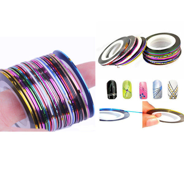 30 Rolls Mix Color Nail Art Tape Lace Line Strips Design Decoration ...