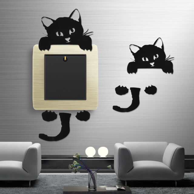 Vinyl Black Cute Cat Light Switch Sticker Wall Decal Home Decoration  Removable
