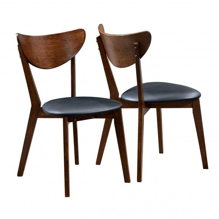 retro dining chairs set of 2 mid century modern dark wood black