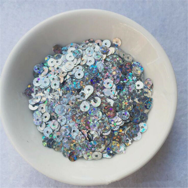 13mm Holographic Silver Snowflake Xmas Loose Sequins Sewing Wedding Craft