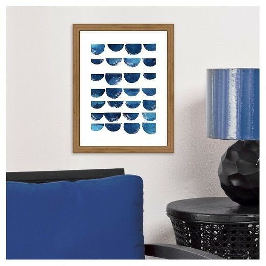 Ora scallops abstract watercolor print wood frame blue wall art resntentobalflowflowcomponenttechnicalissues gumiabroncs Images