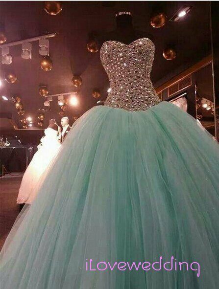 Sweet 16 MINT Green Crystal Quinceanera Dress Ball Gown Evening Prom ...