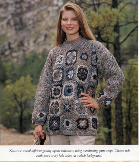 Ladies Granny Square Pullover Sweater Single Pattern Vanna White Ebay