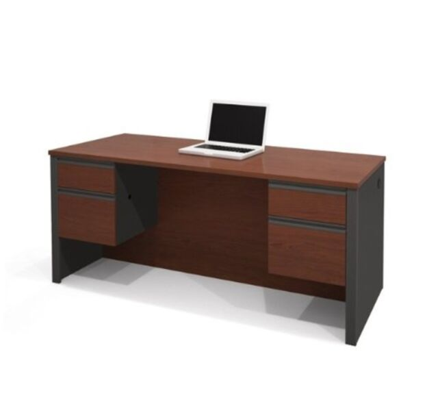 Bestar Prestige Executive Desk W Dual Half Pedestals In Bordeaux Graphite