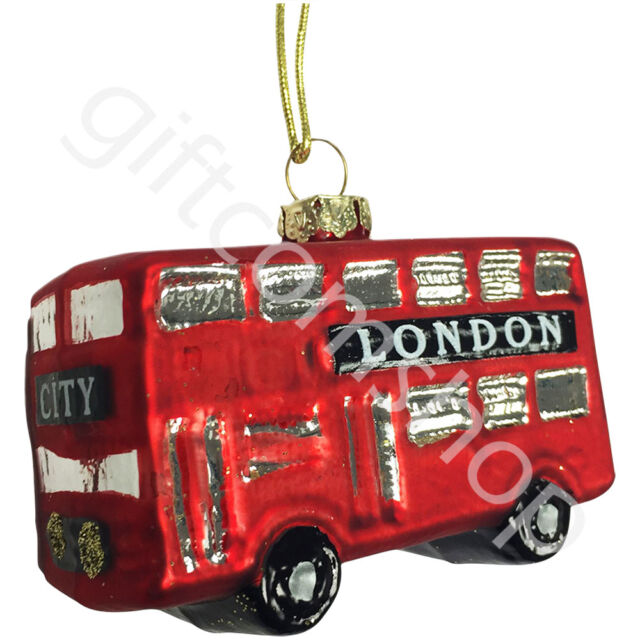 Gisela Graham Painted Glass London Bus Christmas Decoration  eBay