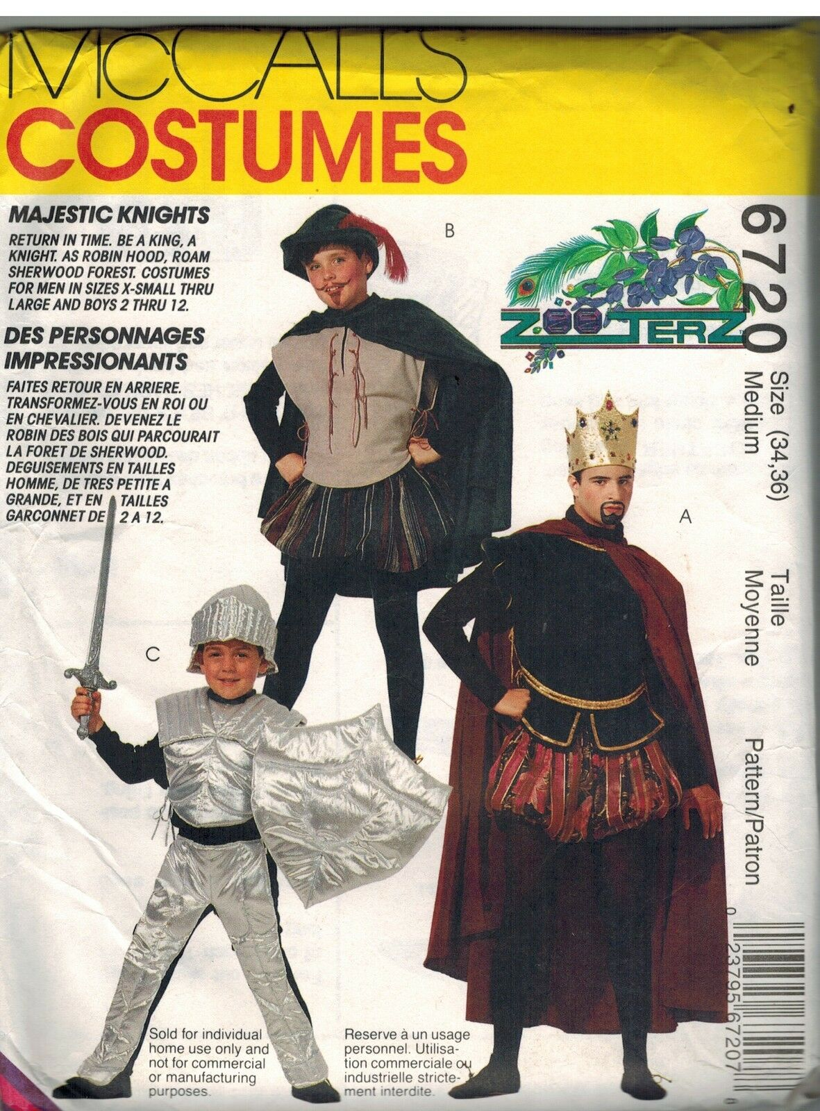 Picture 1 of 2 ... & Uncut McCalls 6720 Kids Majestic Knights Costume Pattern Size 7 8 | eBay