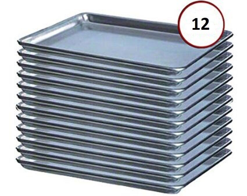 12-pack Half Size 19 Gauge Aluminum Bun / Sheet Pan - Wire in Rim 18 ...