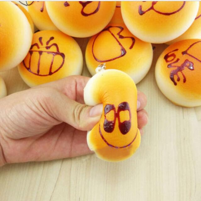 3x Squishy Super KAWAII Soft Buns  Bread Charm Squishies Cell Phone Straps 4cm