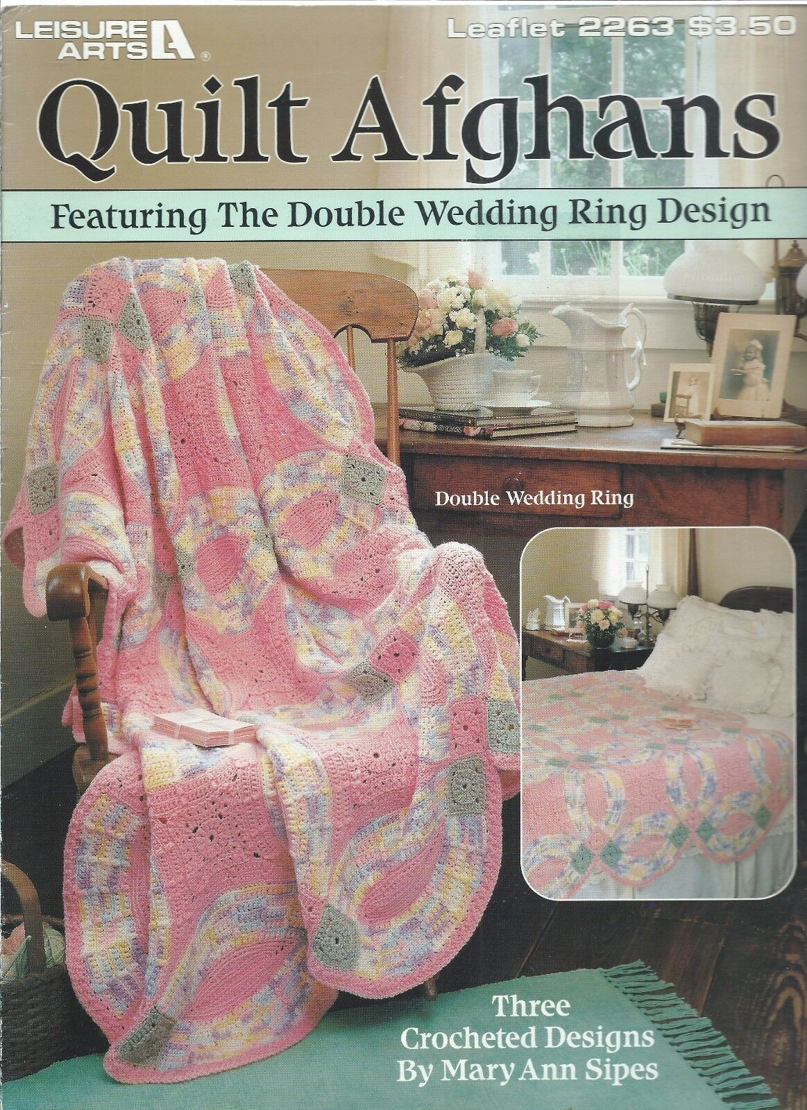 Quilt Afghans 3 Designs Crochet Leisure Arts #2263 Double Wedding ...