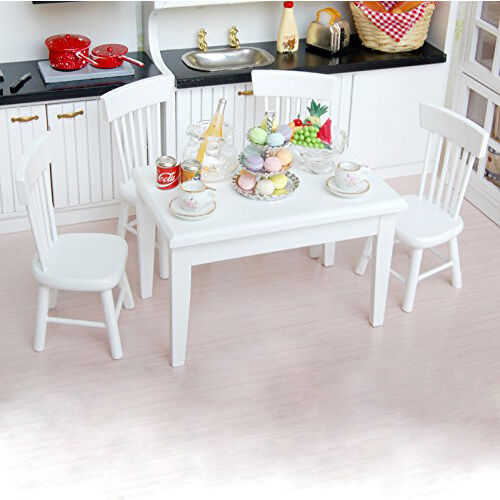 Lovely 5pcs 1/12 Wooden Kitchen Dining Table Chair Set Barbie Dollhouse Furniture  White
