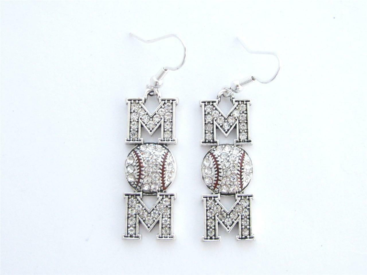Baseball Mom Clear Crystal Fashion Earrings Jewelry Wire Hook Team ...