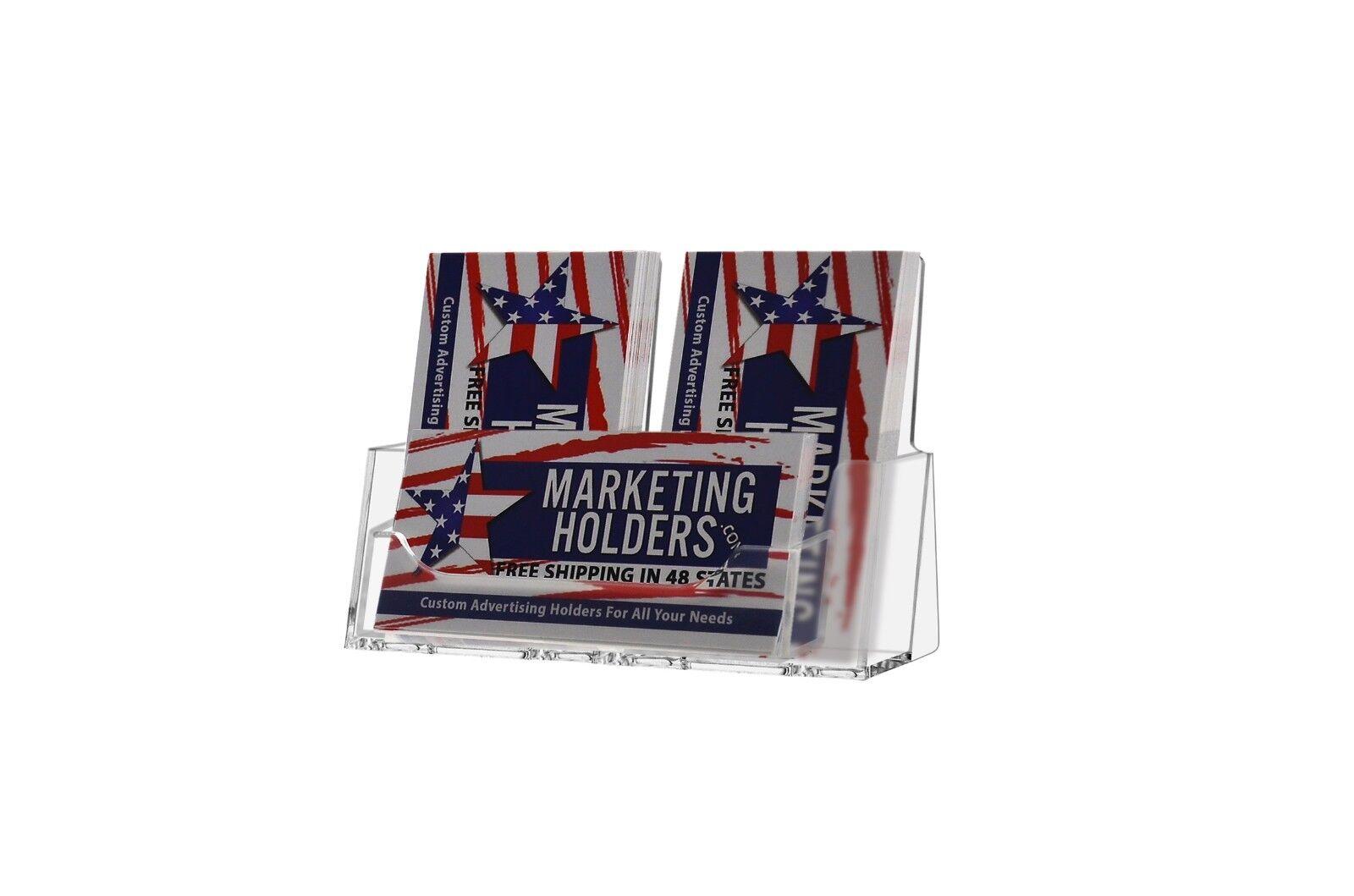 Triple Pocket Acrylic Business Card Holder 2 Vertical & 1 Horizontal ...