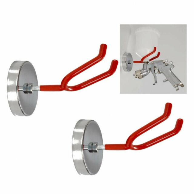 2 HVLP Gravity Feed Spray Gun Magnetic Holder Locker Hook Metal Steel Bracket