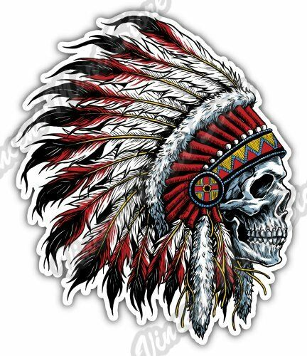 Indian chief head skull native american usa car bumper vinyl sticker decal