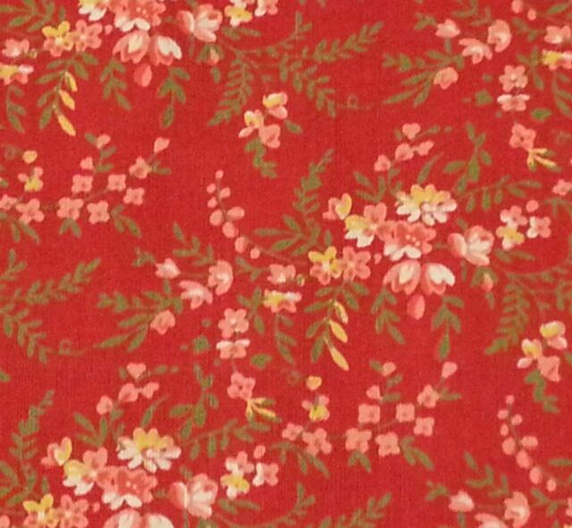 Ozark calico bty by fabri quilt coral yellow flowers on red floral ozark calico bty by fabri quilt coral yellow flowers on red floral mightylinksfo