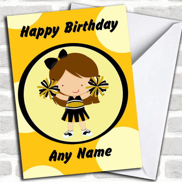 Cheerleader Black And Yellow Personalized Childrens Birthday Card Ebay