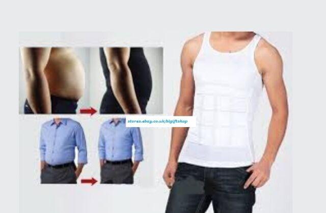 L AS SEEN ON TV, 1 Men's White Nylon Slim Fitness Vest Firming Panels Tone Body