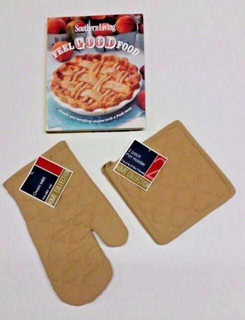 Southern living feel good food simple and satisfying recipes tan 3 piece oven mitt potholders w southern living feel good food cookbook forumfinder Image collections