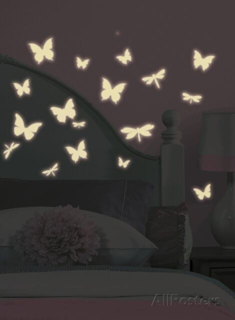 Butterfly U0026 Dragonfly Glow In The Dark Wall Decals Sticker   10x18