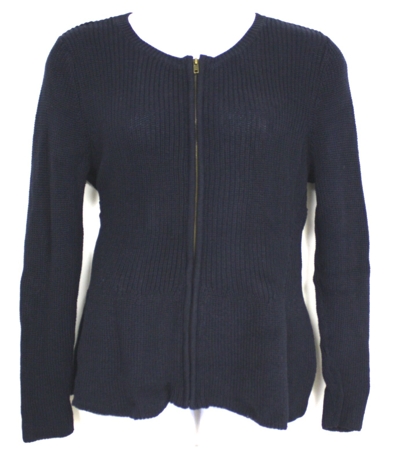Verve Ami Navy Blue Full Zip Cardigan Sweater NWTS Cotton Acrylic ...