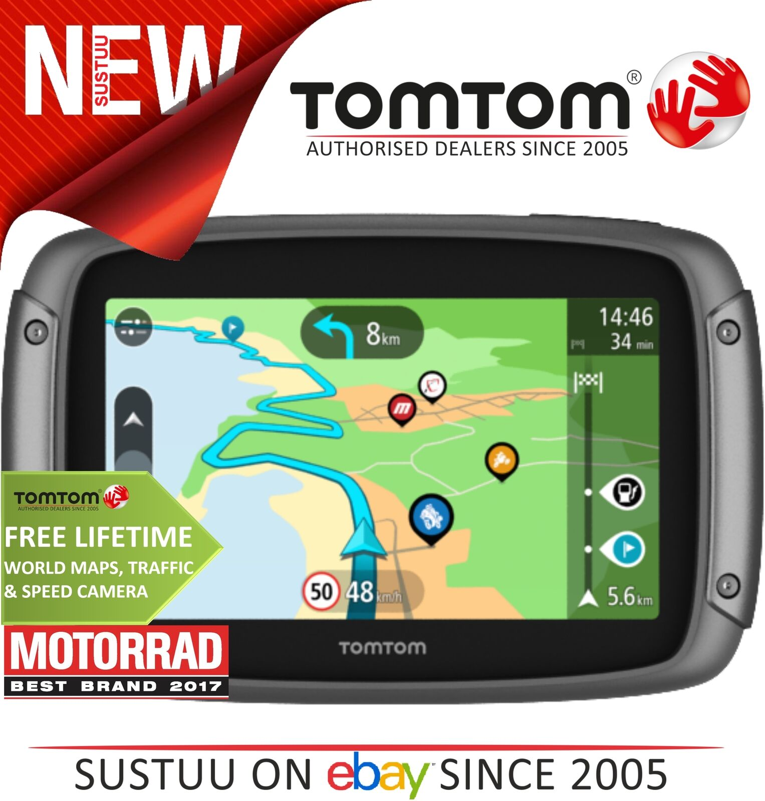 Tomtom rider 450 motorcycle gps satnav lifetime world map speed picture 1 of 3 gumiabroncs Images