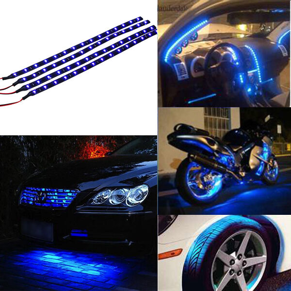 Car truck 30cm flexible waterproof led light strip blue ebay mozeypictures Gallery