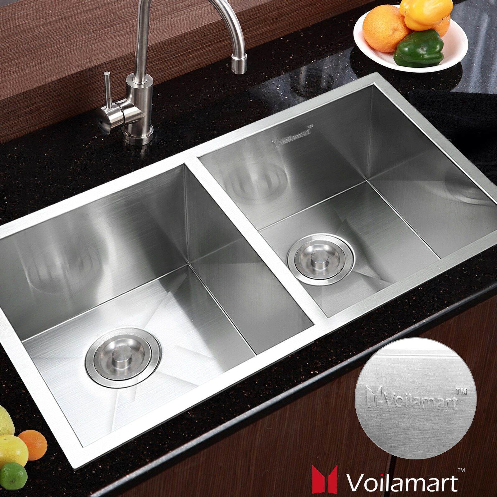 Voilamart 30x 18in Double Bowl Handmade Stainless Steel Kitchen