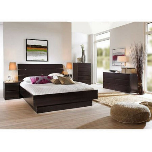 4 Piece Queen Bedroom Furniture Set Headboard Bed Platform Chest Nightstand New