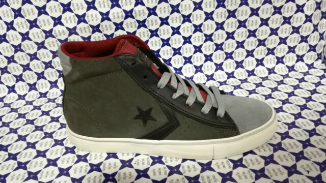 Scarpa Converse Pro Leather Mid Pelle Camoscio 15510C Verde Grigio