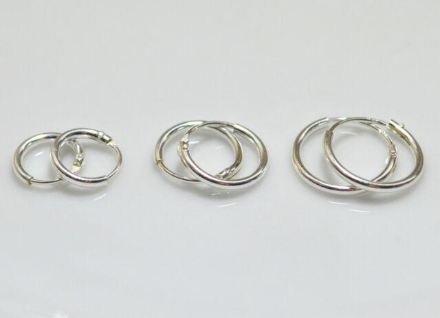 925 Sterling Silver 3 Pair Set of 8 10 12mm Sleeper Round Endless Hoop Earrings cF7OX44VqU