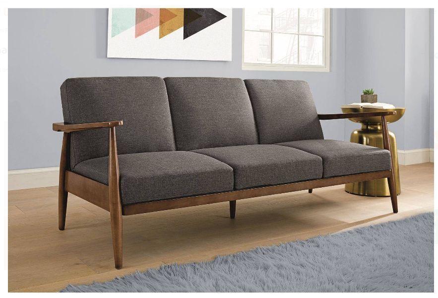 Futon Sleeper Sofa Grey Mid Century Modern Convertible Couch