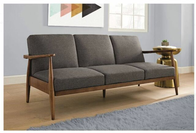 futon sleeper sofa grey mid century modern convertible couch lounge chair bed futon sleeper sofa grey mid century modern convertible couch      rh   ebay
