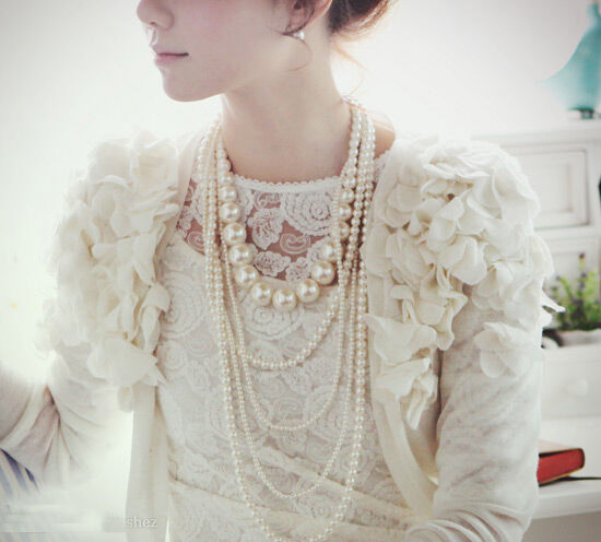 Vintage antique style five threads faux pearl long necklace sweater chain
