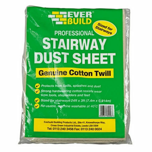 2X COTTON TWILL DUST SHEET 3FT X 24FT STAIRWAY PAINTING SHEETS PROTECT EVERBUILD