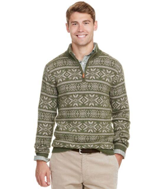 Vineyard Vines Men's Two Color Fair Isle 1/4 Zip Sweater 100 ...