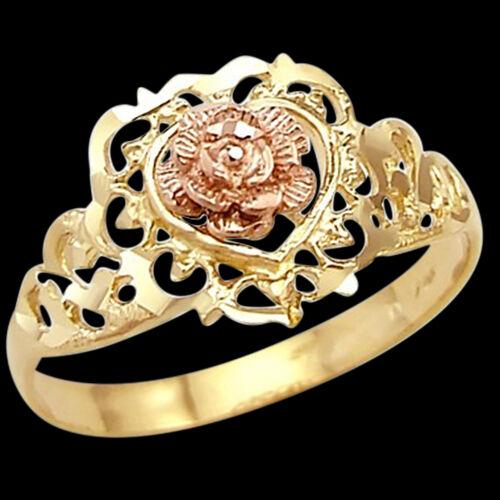Heart flower ring 14k rose yellow gold band 65 ebay mightylinksfo