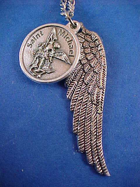 Archangel st michael saint medal necklace pendant angel wing archangel st michael saint medal necklace pendant angel wing protection prayer ebay aloadofball Images