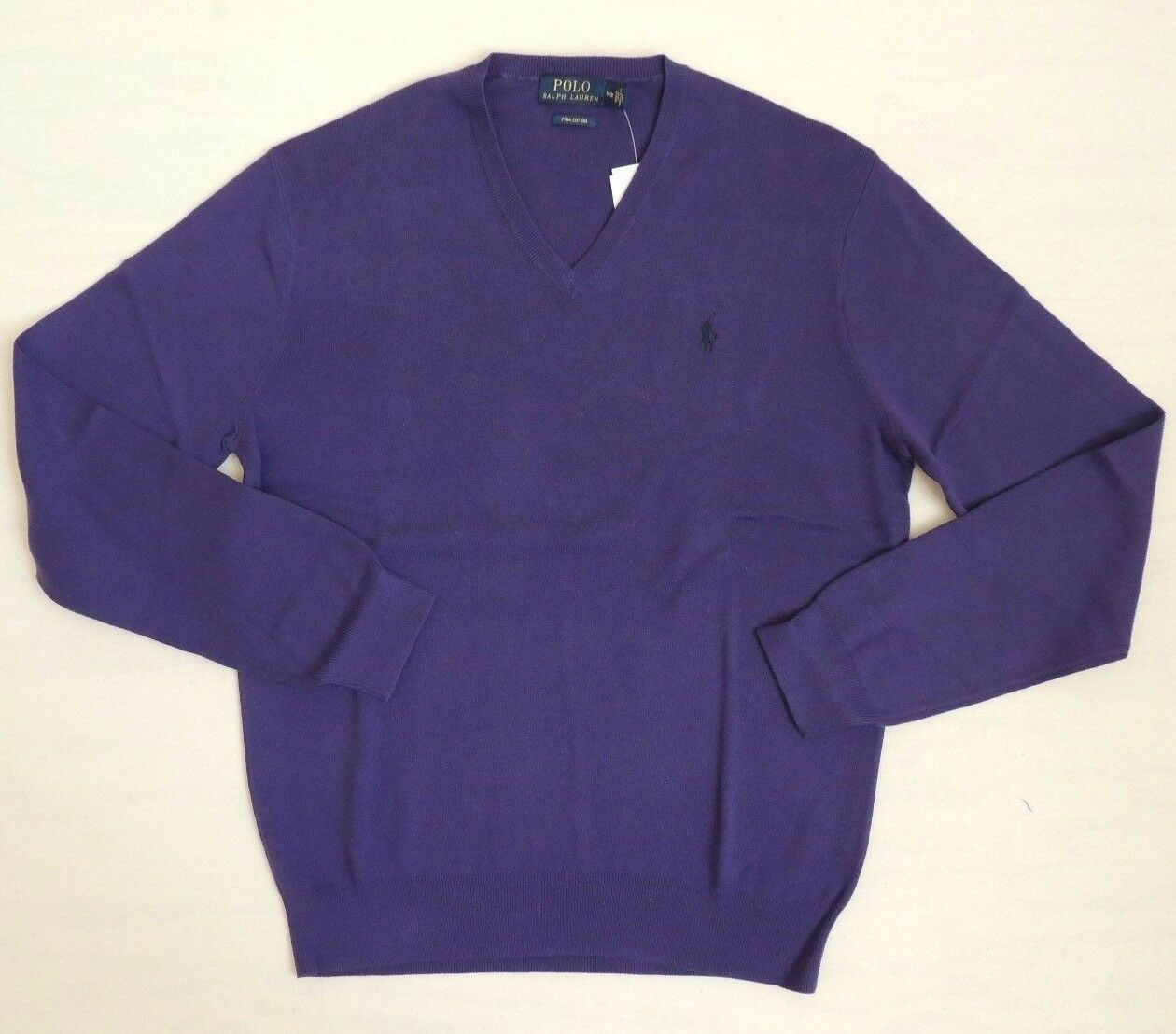 Polo Ralph Lauren V Neck 100 Pima Cotton Purple Pony Sweater Large ...