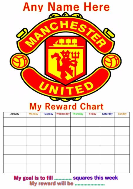 Personalised childrens a4 reward behaviour chart manchester united stickers