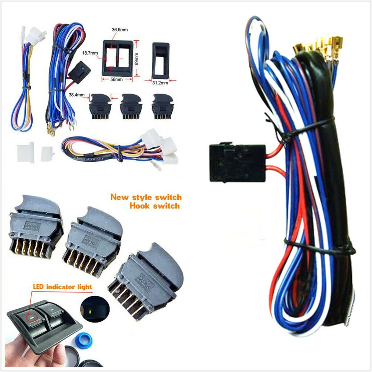 s l1600 diy dc 12v car power electric window switch with wire harness Shoulder Harness at crackthecode.co