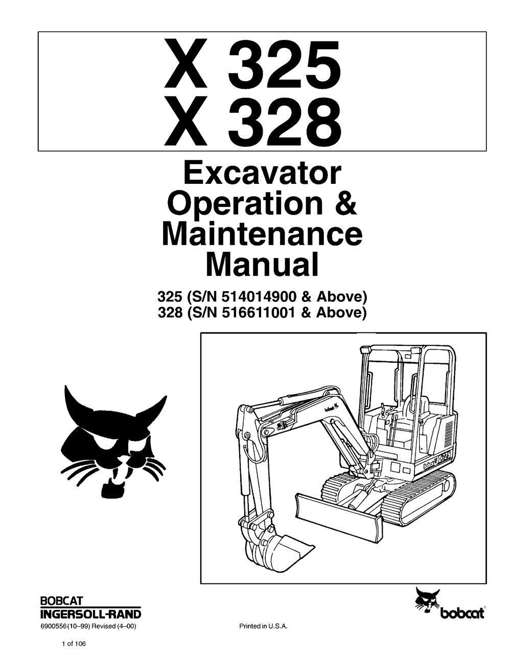Bobcat X325x328 Excavator Operation Maintenance Manual S/n 514014900 &  Above | eBay